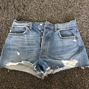 High waisted Reformation jean shorts